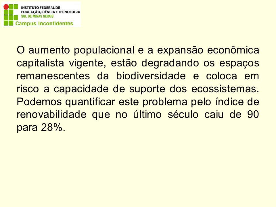 O aumento populacional e a expansão econômica capitalista vigente, estão degradando os espaços remanescentes da biodiversidade e coloca em risco a capacidade de suporte dos ecossistemas.