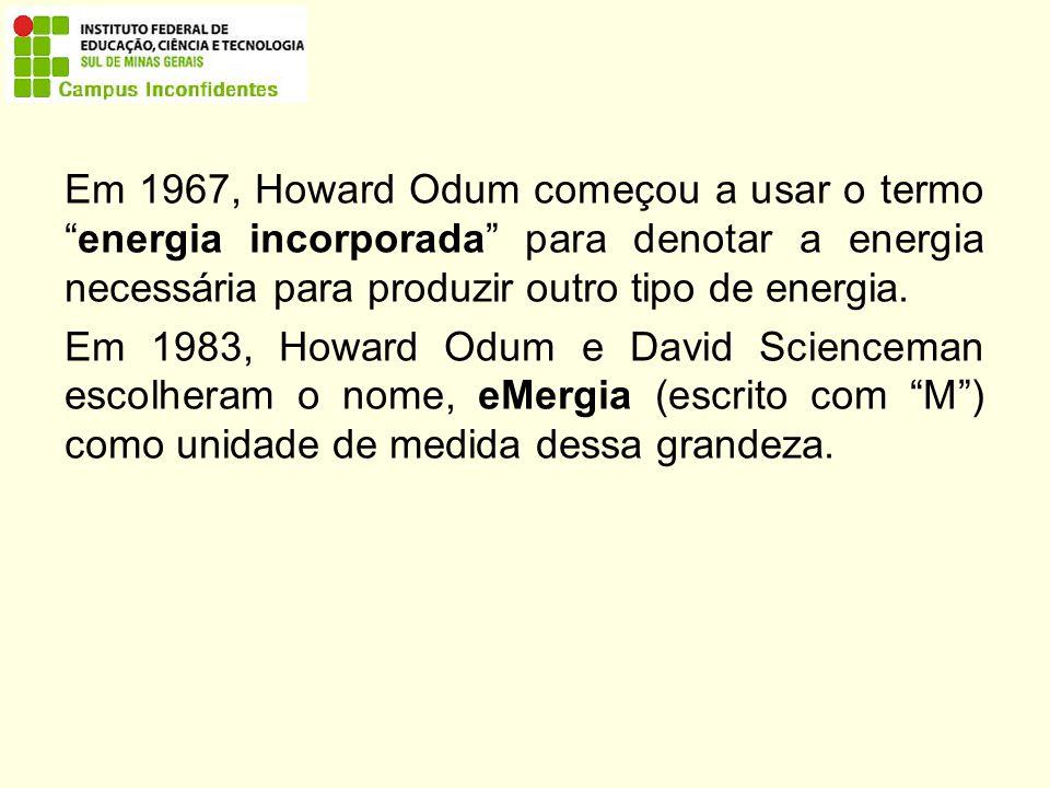 Em 1967, Howard Odum começou a usar o termo energia incorporada para denotar a energia necessária para produzir outro tipo de energia.