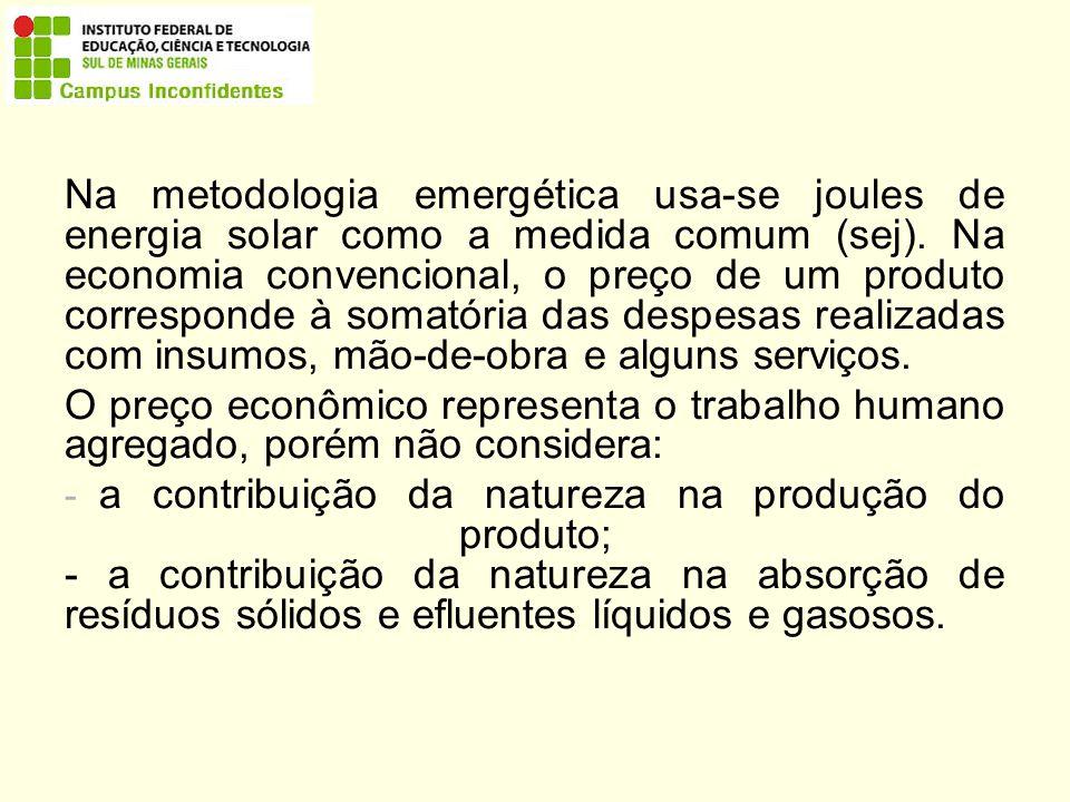 Na metodologia emergética usa-se joules de energia solar como a medida comum (sej).
