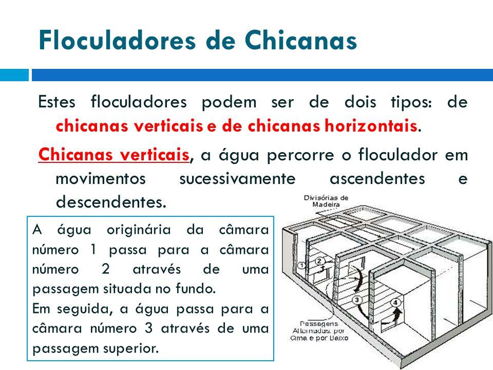 Floculadores de Chicanas Estes floculadores podem ser de dois tipos: de chicanas verticais e de chicanas horizontais. Chicanas verticais, a água perco
