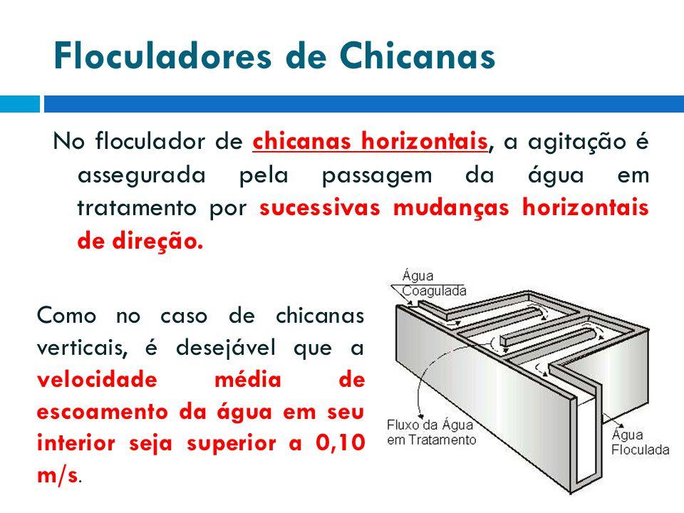 Floculadores de Chicanas No floculador de chicanas horizontais, a agitação é assegurada pela passagem da água em tratamento por sucessivas mudanças ho