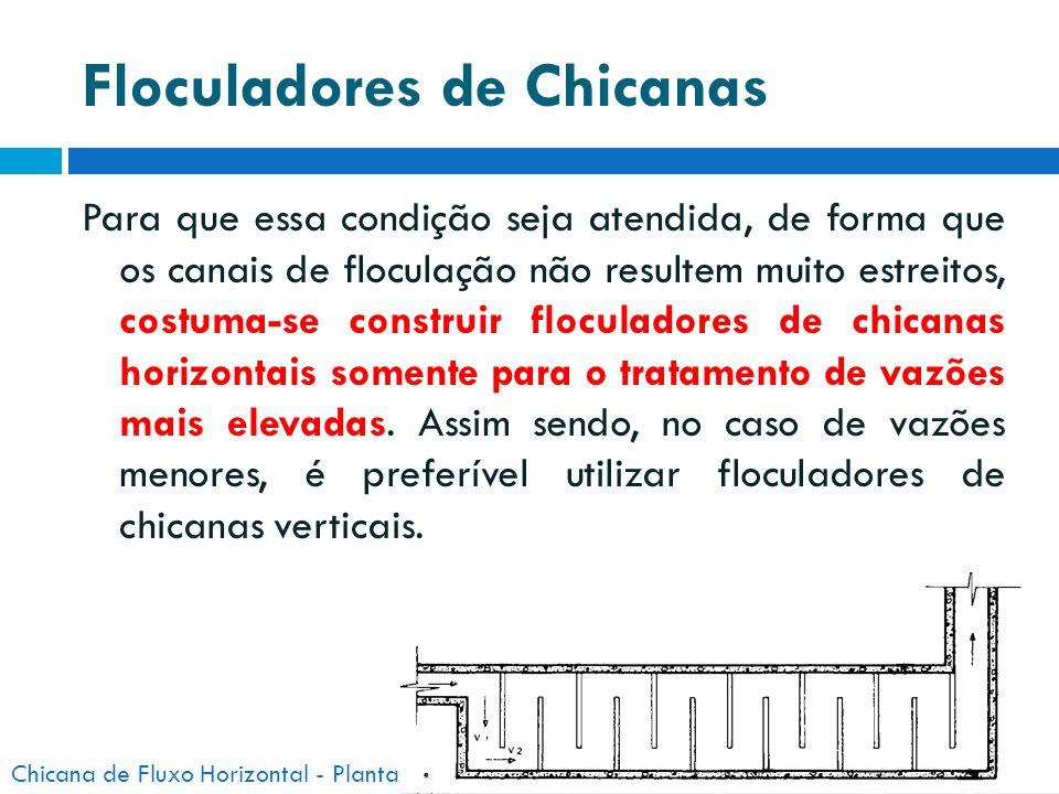 Floculadores de Chicanas Para que essa condição seja atendida, de forma que os canais de floculação não resultem muito estreitos, costuma-se construir