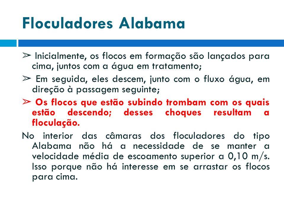 Floculadores Alabama ➢ Inicialmente, os flocos em formação são lançados para cima, juntos com a água em tratamento; ➢ Em seguida, eles descem, junto c
