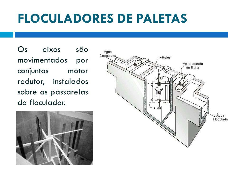 FLOCULADORES DE PALETAS Os eixos são movimentados por conjuntos motor redutor, instalados sobre as passarelas do floculador.
