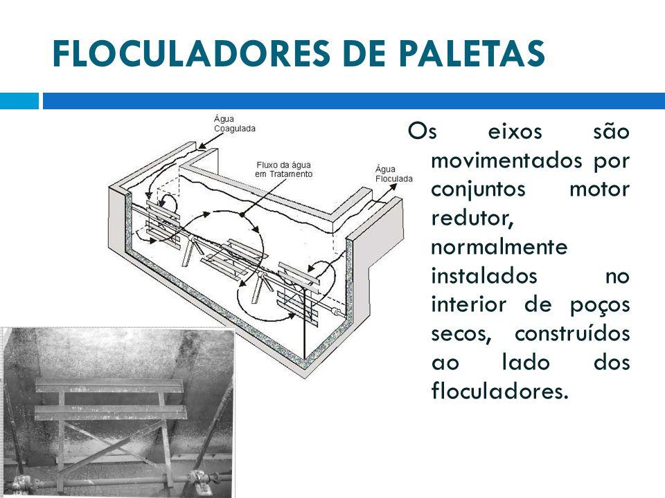 FLOCULADORES DE PALETAS Os eixos são movimentados por conjuntos motor redutor, normalmente instalados no interior de poços secos, construídos ao lado
