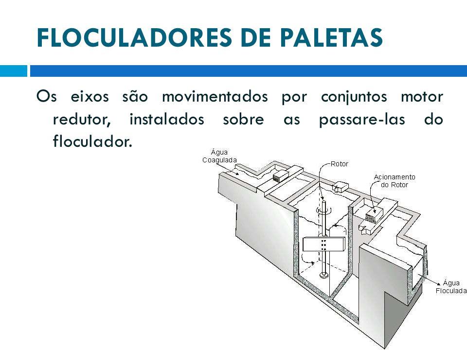 FLOCULADORES DE PALETAS Os eixos são movimentados por conjuntos motor redutor, instalados sobre as passare-las do floculador.