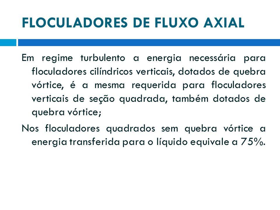FLOCULADORES DE FLUXO AXIAL Em regime turbulento a energia necessária para floculadores cilíndricos verticais, dotados de quebra vórtice, é a mesma re