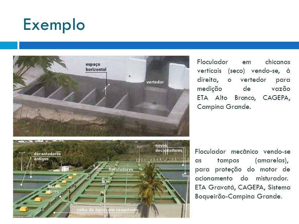 Exemplo Floculador em chicanas verticais (seco) vendo-se, à direita, o vertedor para medição de vazão ETA Alto Branco, CAGEPA, Campina Grande. Flocula