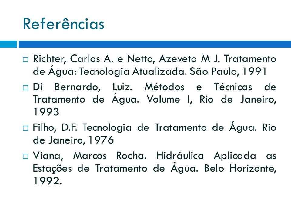 Referências  Richter, Carlos A. e Netto, Azeveto M J. Tratamento de Água: Tecnologia Atualizada. São Paulo, 1991  Di Bernardo, Luiz. Métodos e Técni