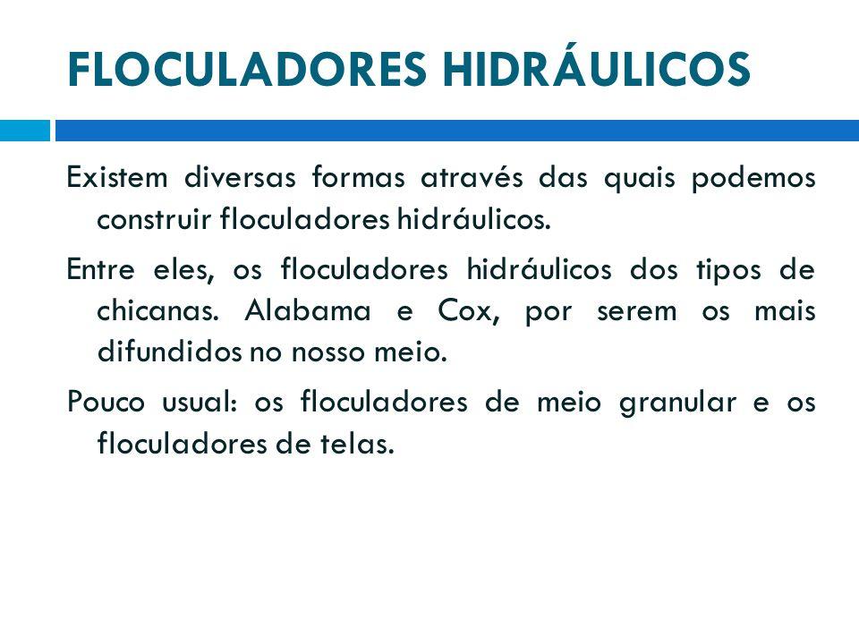 FLOCULADORES HIDRÁULICOS Existem diversas formas através das quais podemos construir floculadores hidráulicos. Entre eles, os floculadores hidráulicos
