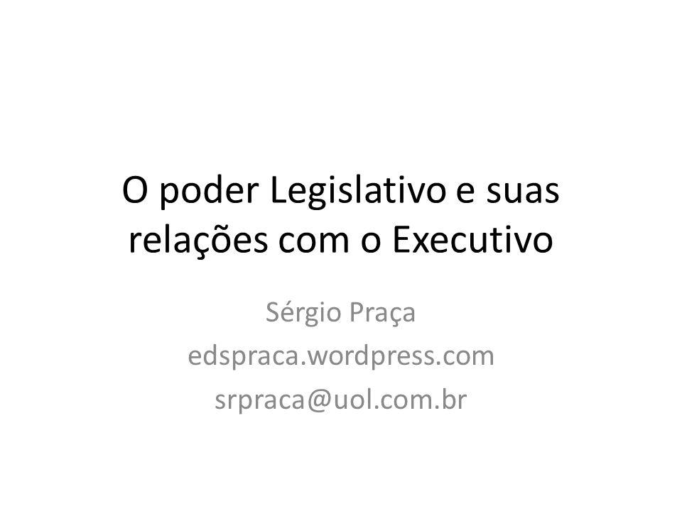 Mais resultados do processo legislativo 1946-1964: Executivo 1946-1964: Legislativo 1989-2006 Executivo 1989-2006 Legislativo Leis orçamentárias 3,33,47,4- Medidas provisórias --3,6- Leis ordinárias3,77,72,42,6 Total7,011,113,42,6