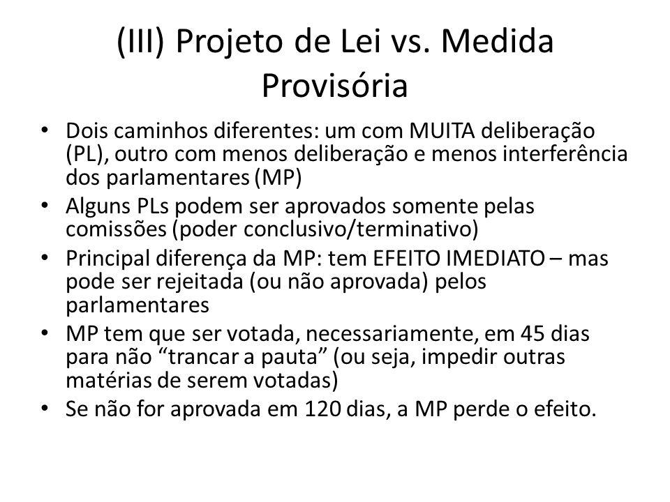 (III) Projeto de Lei vs.