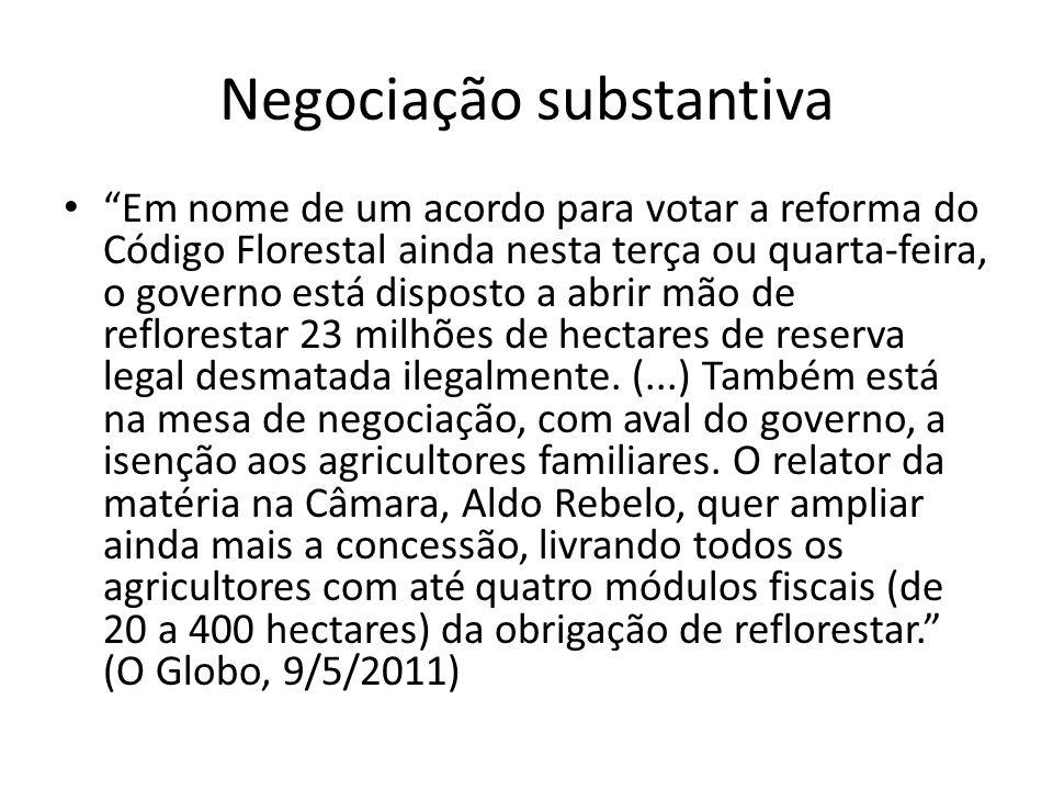 Negociação substantiva Em nome de um acordo para votar a reforma do Código Florestal ainda nesta terça ou quarta-feira, o governo está disposto a abrir mão de reflorestar 23 milhões de hectares de reserva legal desmatada ilegalmente.