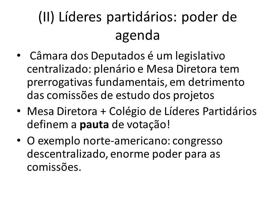 (II) Líderes partidários: poder de agenda Câmara dos Deputados é um legislativo centralizado: plenário e Mesa Diretora tem prerrogativas fundamentais, em detrimento das comissões de estudo dos projetos Mesa Diretora + Colégio de Líderes Partidários definem a pauta de votação.