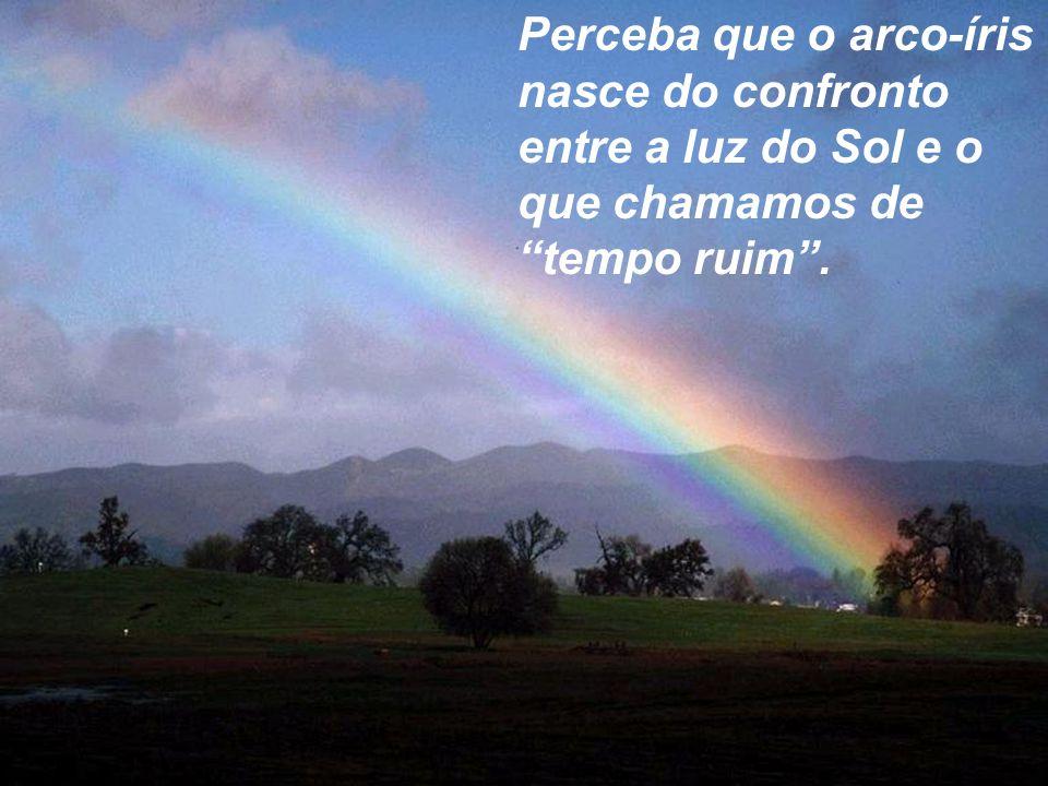 """Perceba que o arco-íris nasce do confronto entre a luz do Sol e o que chamamos de """"tempo ruim""""."""