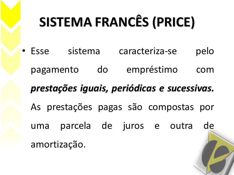 SISTEMA FRANCÊS (PRICE) prestações iguais, periódicas e sucessivas. Esse sistema caracteriza-se pelo pagamento do empréstimo com prestações iguais, pe