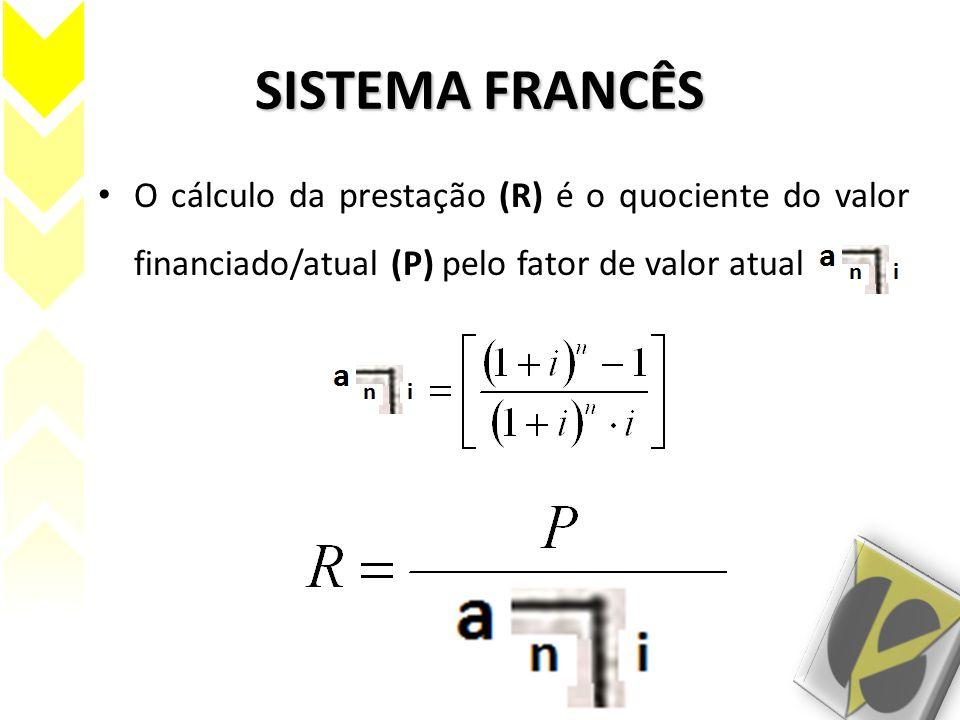 SISTEMA FRANCÊS O cálculo da prestação (R) é o quociente do valor financiado/atual (P) pelo fator de valor atual.