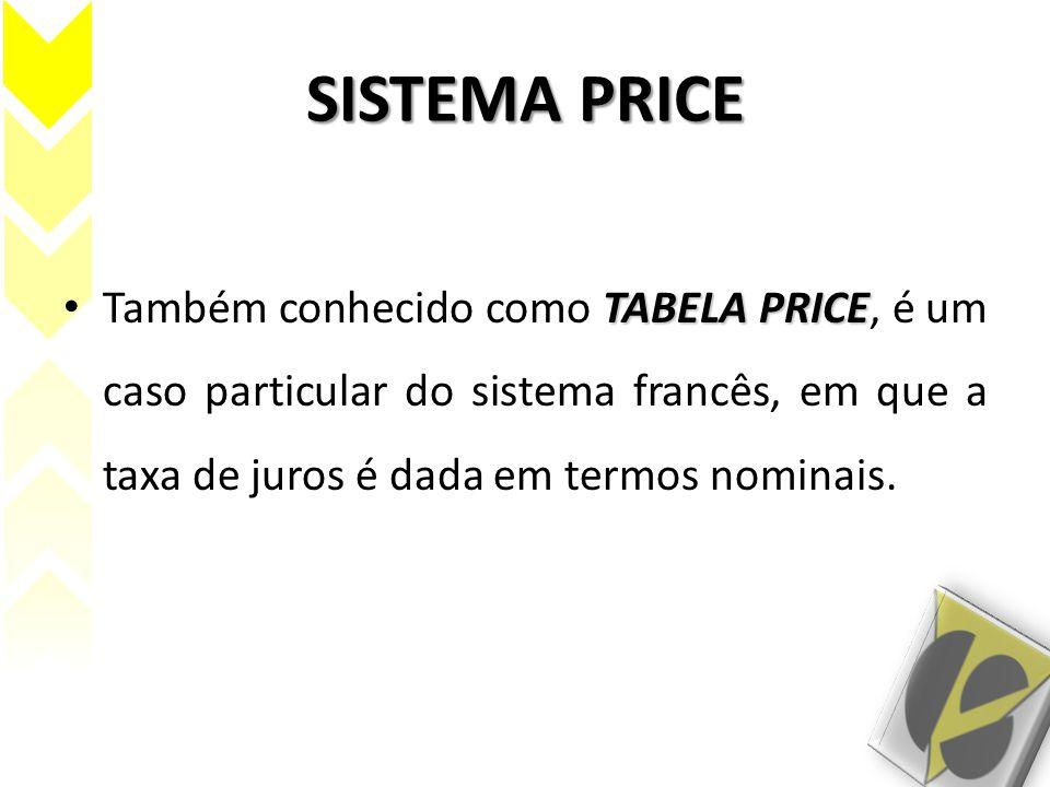 SISTEMA PRICE TABELA PRICE Também conhecido como TABELA PRICE, é um caso particular do sistema francês, em que a taxa de juros é dada em termos nomina