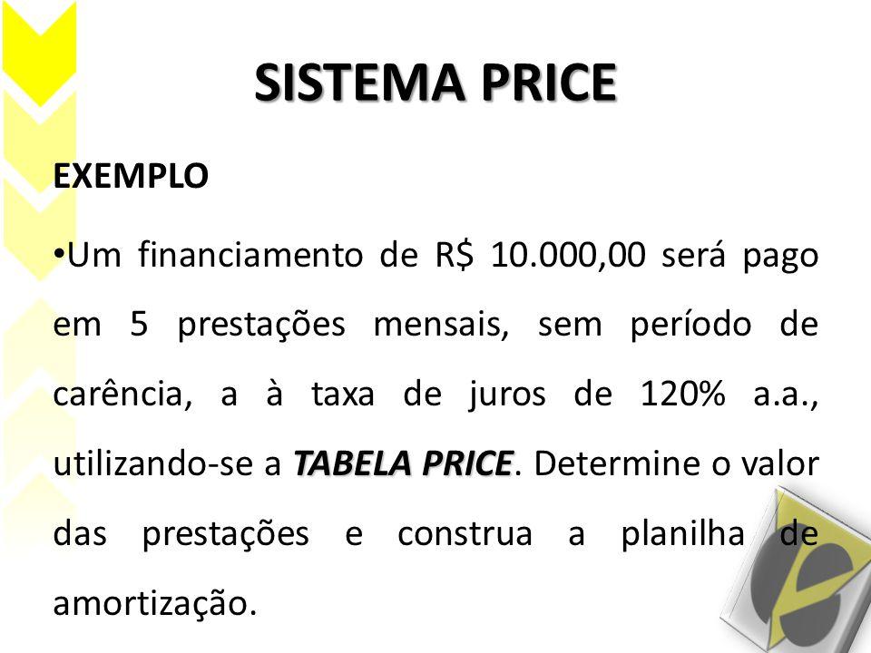 SISTEMA PRICE EXEMPLO TABELA PRICE Um financiamento de R$ 10.000,00 será pago em 5 prestações mensais, sem período de carência, a à taxa de juros de 1