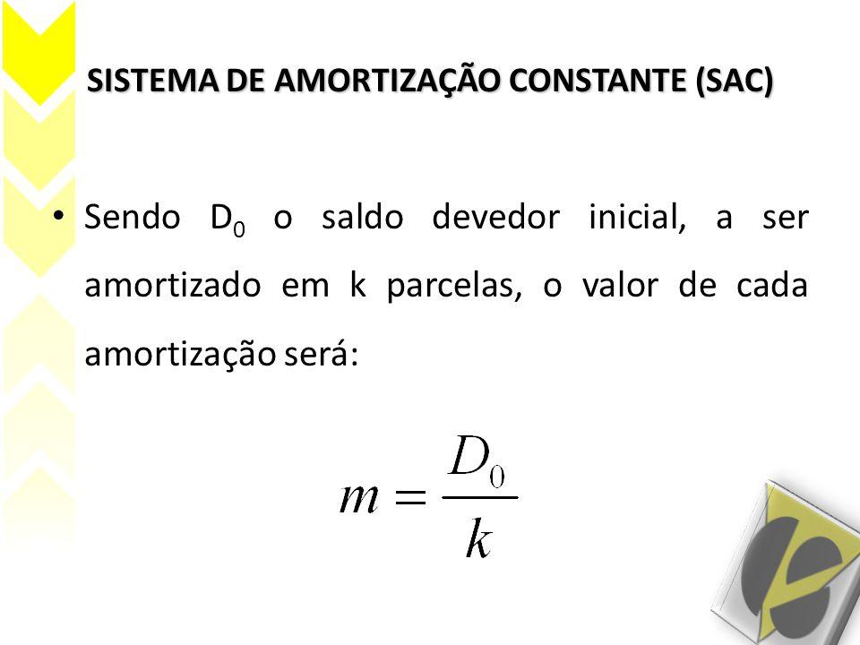 SISTEMA DE AMORTIZAÇÃO CONSTANTE (SAC) Sendo D 0 o saldo devedor inicial, a ser amortizado em k parcelas, o valor de cada amortização será: