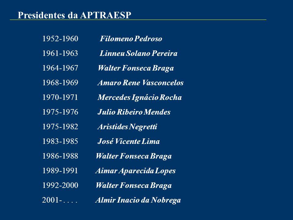Presidentes da APTRAESP 1952-1960 Filomeno Pedroso 1961-1963 Linneu Solano Pereira 1964-1967 Walter Fonseca Braga 1968-1969 Amaro Rene Vasconcelos 197
