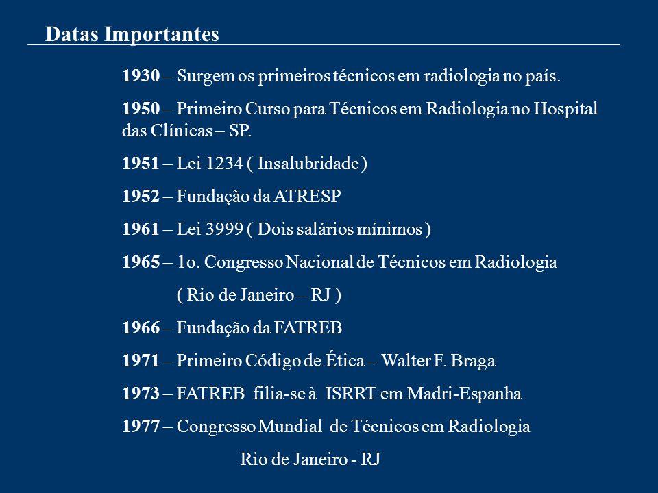Datas Importantes 1930 – Surgem os primeiros técnicos em radiologia no país. 1950 – Primeiro Curso para Técnicos em Radiologia no Hospital das Clínica
