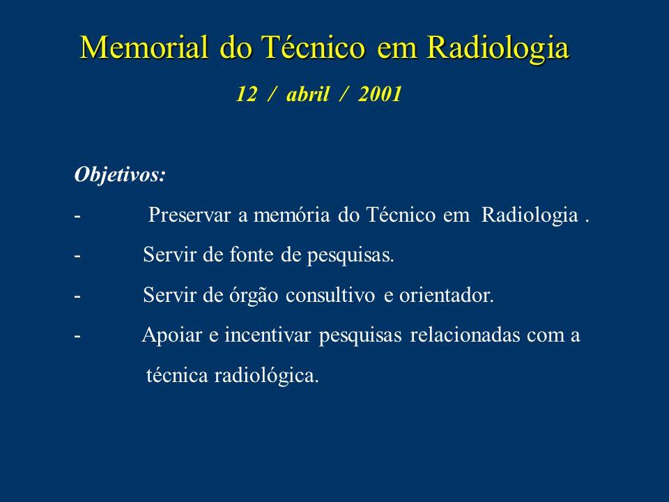 M MM Memorial do Técnico em Radiologia 12 / abril / 2001 Objetivos: - Preservar a memória do Técnico em Radiologia. - Servir de fonte de pesquisas. er