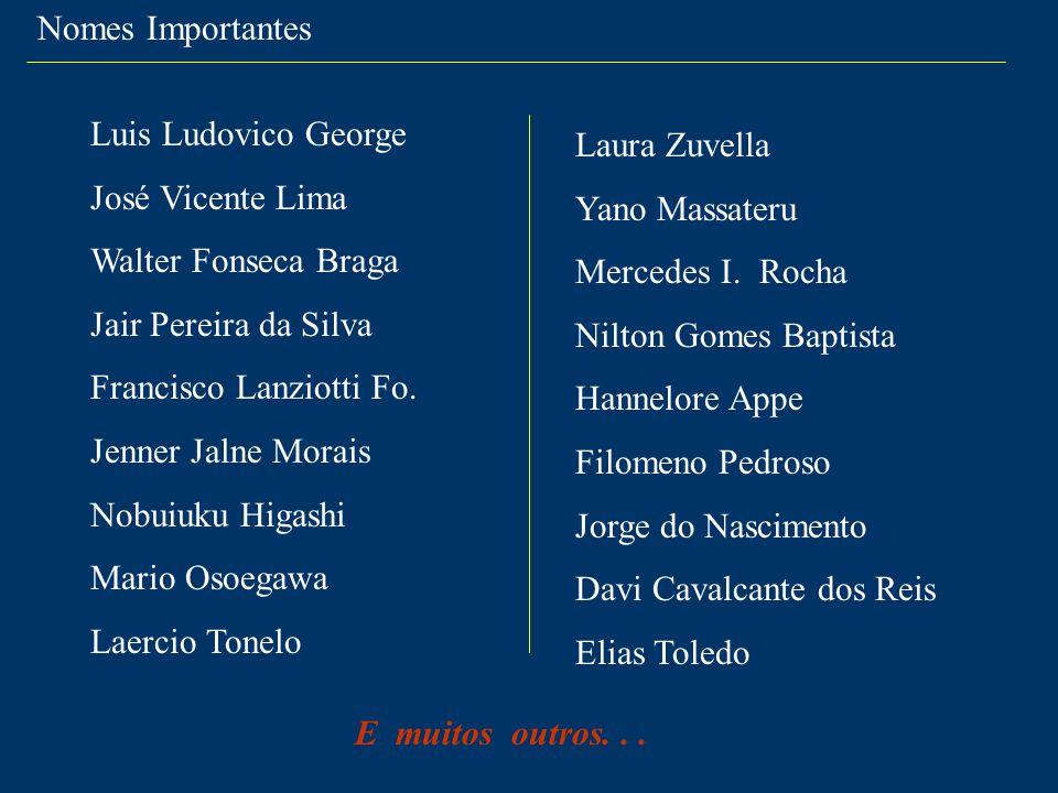 Nomes Importantes Luis Ludovico George José Vicente Lima Walter Fonseca Braga Jair Pereira da Silva Francisco Lanziotti Fo. Jenner Jalne Morais Nobuiu