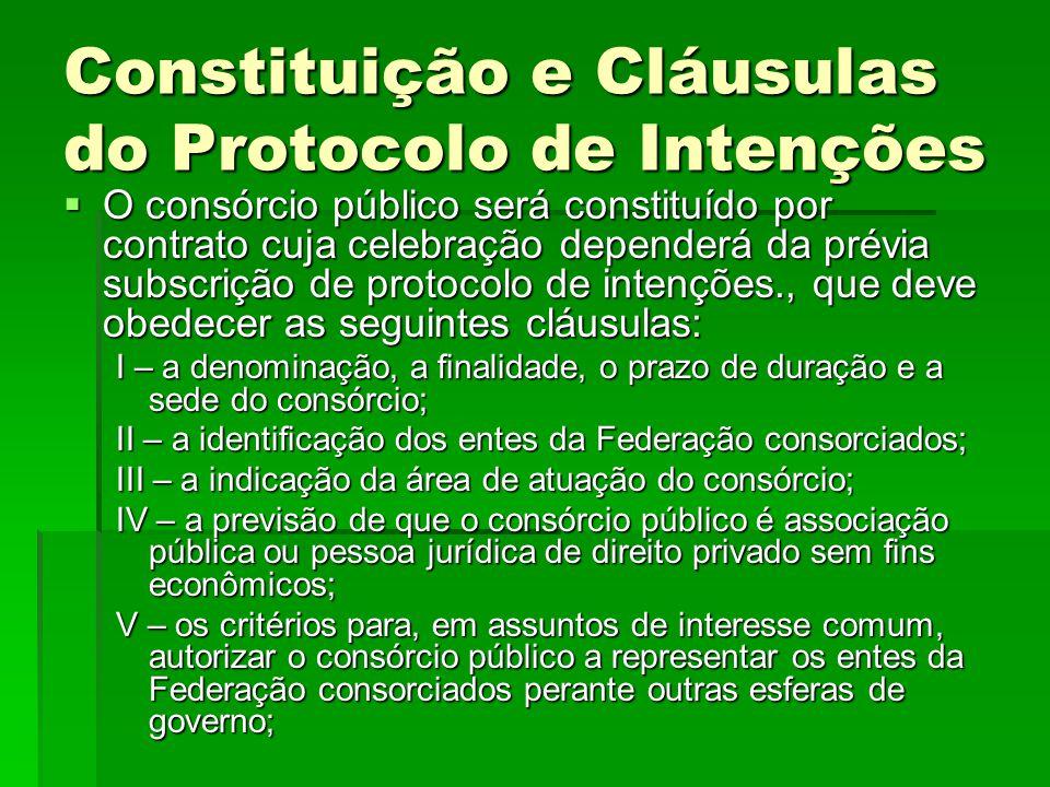 Constituição e Cláusulas do Protocolo de Intenções  O consórcio público será constituído por contrato cuja celebração dependerá da prévia subscrição