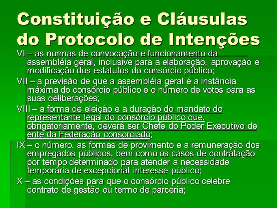 Constituição e Cláusulas do Protocolo de Intenções VI – as normas de convocação e funcionamento da assembléia geral, inclusive para a elaboração, apro