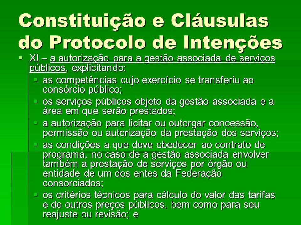Constituição e Cláusulas do Protocolo de Intenções  XI – a autorização para a gestão associada de serviços públicos, explicitando:  as competências