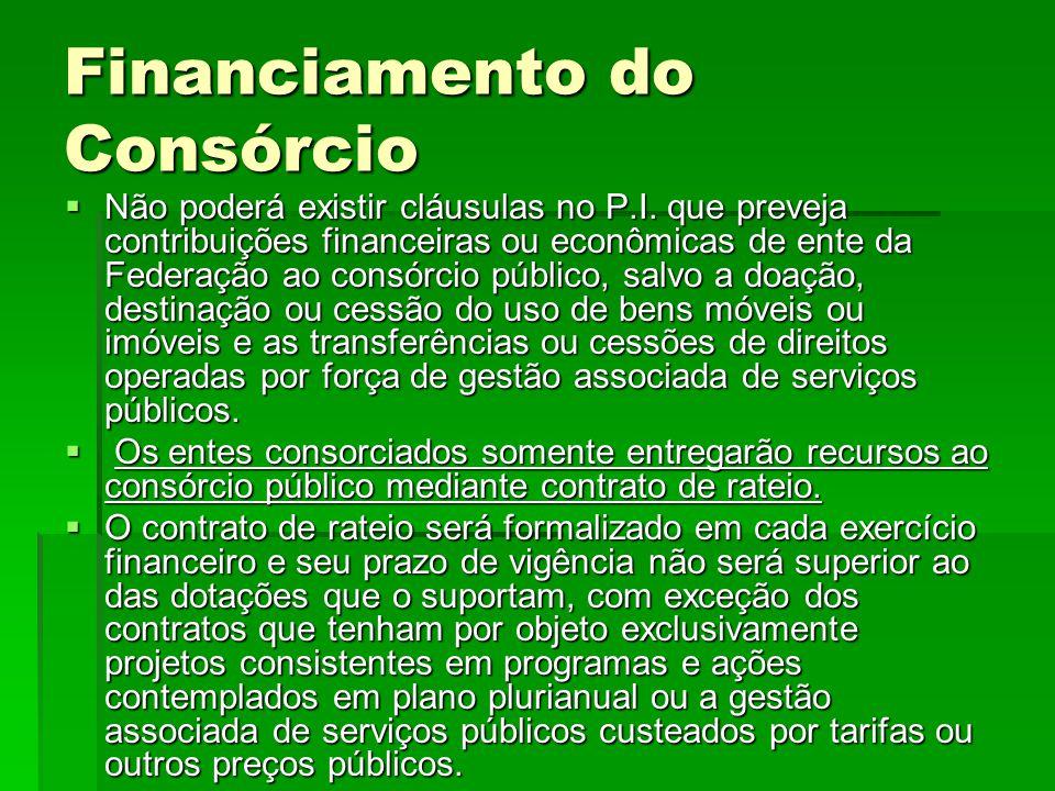 Financiamento do Consórcio  Não poderá existir cláusulas no P.I. que preveja contribuições financeiras ou econômicas de ente da Federação ao consórci