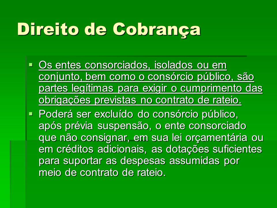 Direito de Cobrança  Os entes consorciados, isolados ou em conjunto, bem como o consórcio público, são partes legítimas para exigir o cumprimento das