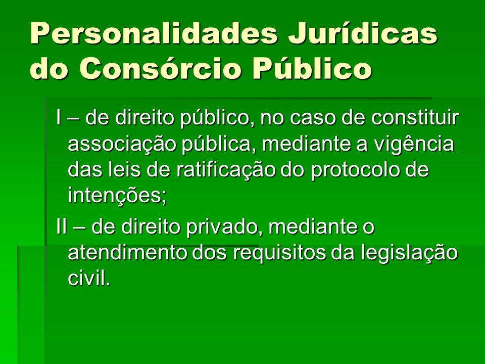 Personalidades Jurídicas do Consórcio Público I – de direito público, no caso de constituir associação pública, mediante a vigência das leis de ratifi