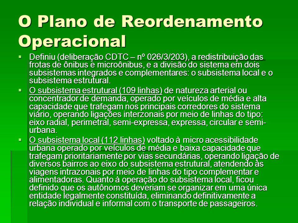 O Plano de Reordenamento Operacional  Definiu (deliberação CDTC – nº 026/3/203), a redistribuição das frotas de ônibus e microônibus, e a divisão do