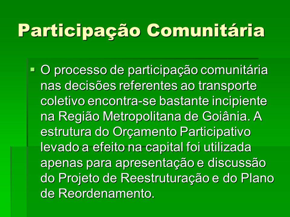 Participação Comunitária  O processo de participação comunitária nas decisões referentes ao transporte coletivo encontra-se bastante incipiente na Re