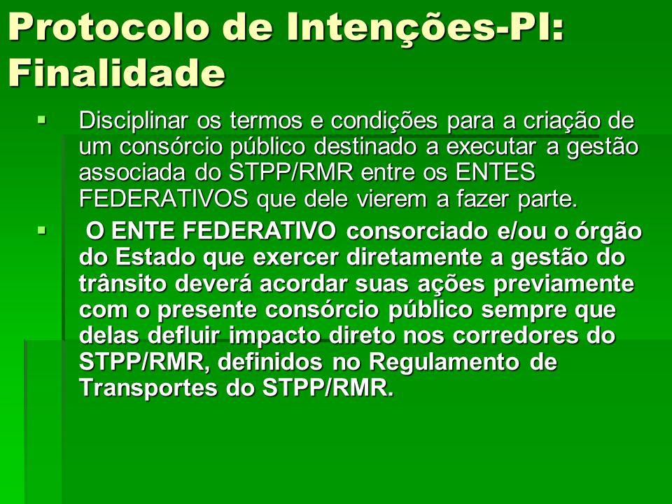 Protocolo de Intenções-PI: Finalidade  Disciplinar os termos e condições para a criação de um consórcio público destinado a executar a gestão associa