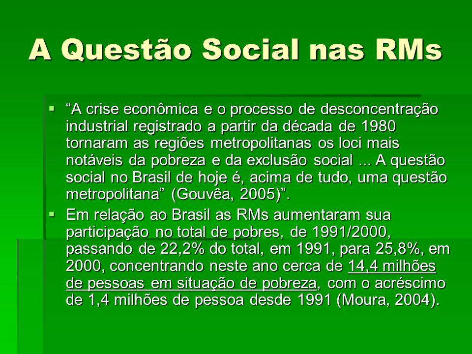 """A Questão Social nas RMs  """"A crise econômica e o processo de desconcentração industrial registrado a partir da década de 1980 tornaram as regiões met"""