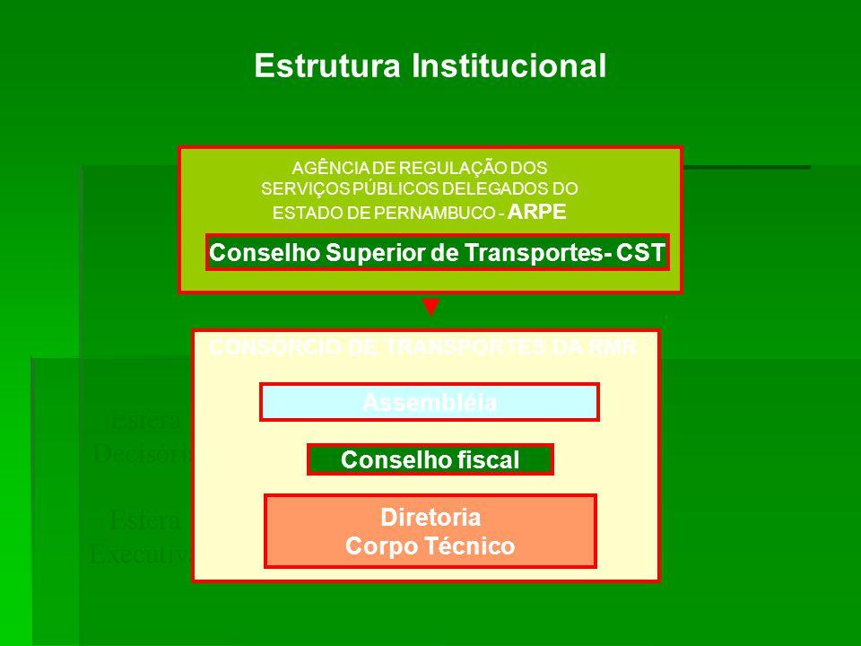 Estrutura Institucional Esfera Decisória Esfera Executiva Assembléia Conselho fiscal Diretoria Corpo Técnico CONSÓRCIO DE TRANSPORTES DA RMR AGÊNCIA D