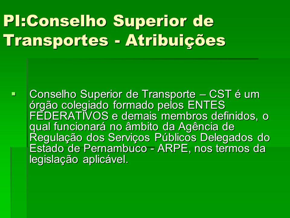 PI:Conselho Superior de Transportes - Atribuições PI:Conselho Superior de Transportes - Atribuições  Conselho Superior de Transporte – CST é um órgão