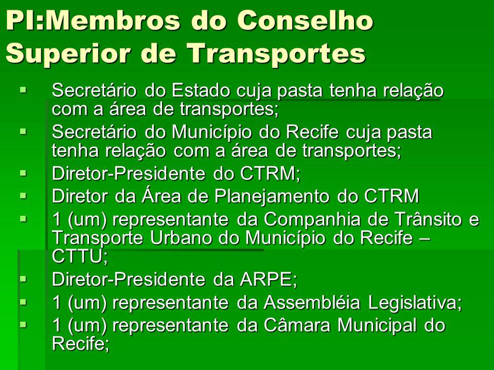 PI:Membros do Conselho Superior de Transportes  Secretário do Estado cuja pasta tenha relação com a área de transportes;  Secretário do Município do
