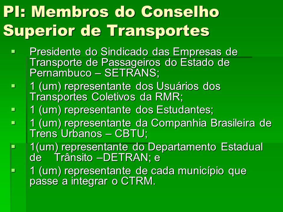 PI: Membros do Conselho Superior de Transportes  Presidente do Sindicado das Empresas de Transporte de Passageiros do Estado de Pernambuco – SETRANS;