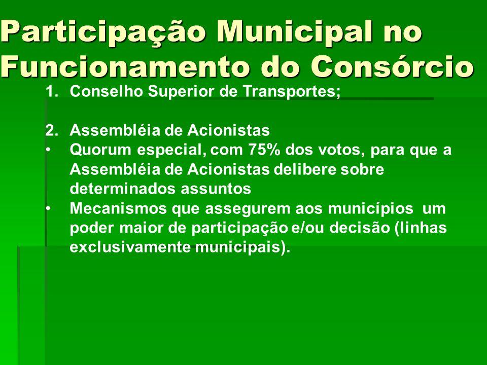 1.Conselho Superior de Transportes; 2.Assembléia de Acionistas Quorum especial, com 75% dos votos, para que a Assembléia de Acionistas delibere sobre