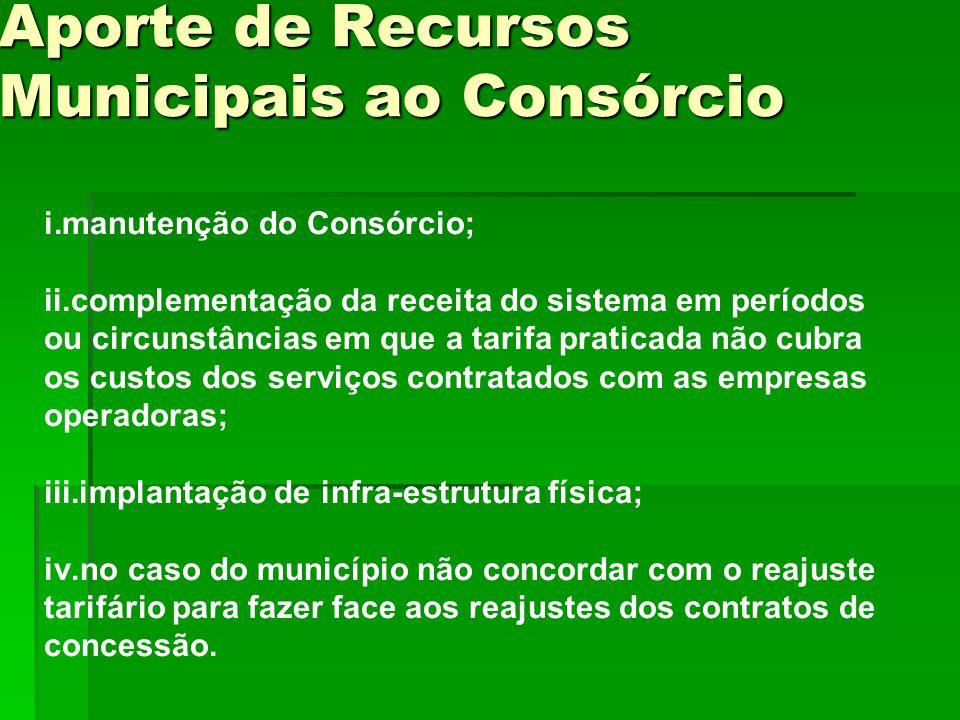 i.manutenção do Consórcio; ii.complementação da receita do sistema em períodos ou circunstâncias em que a tarifa praticada não cubra os custos dos ser
