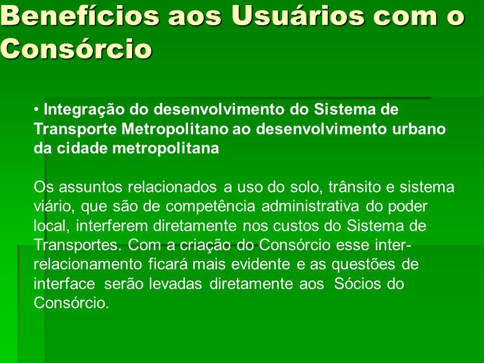 Benefícios aos Usuários com o Consórcio Integração do desenvolvimento do Sistema de Transporte Metropolitano ao desenvolvimento urbano da cidade metro