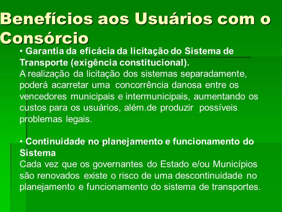 Benefícios aos Usuários com o Consórcio Garantia da eficácia da licitação do Sistema de Transporte (exigência constitucional). A realização da licitaç