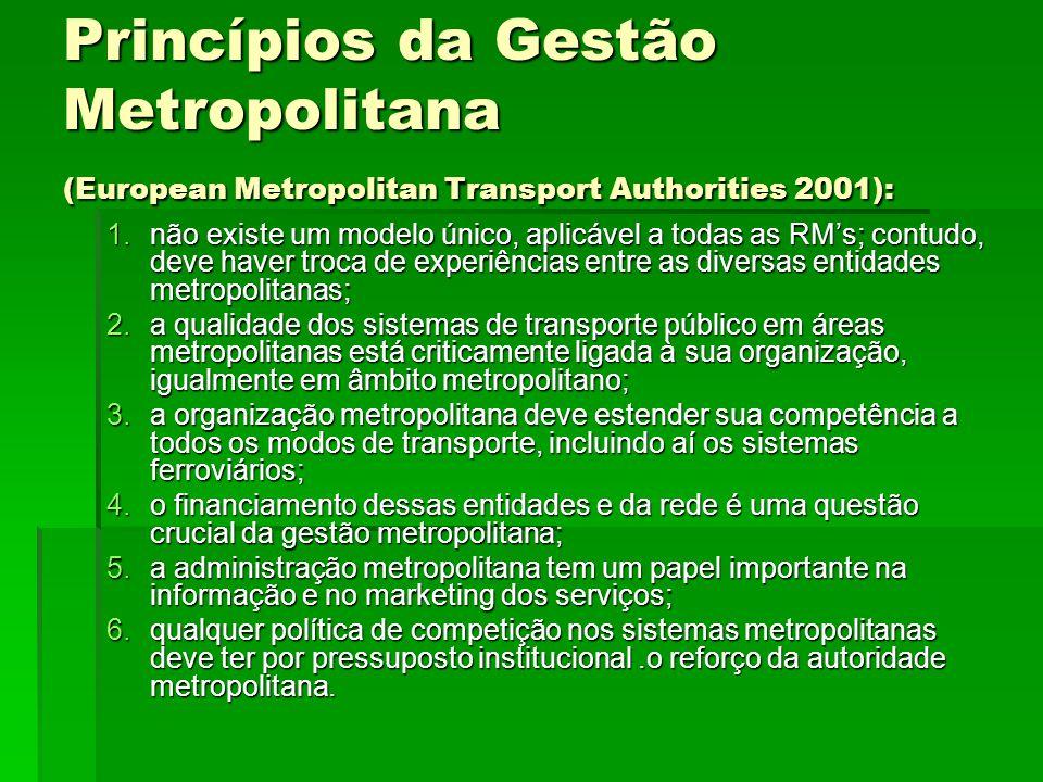 Princípios da Gestão Metropolitana (European Metropolitan Transport Authorities 2001): 1.não existe um modelo único, aplicável a todas as RM's; contud