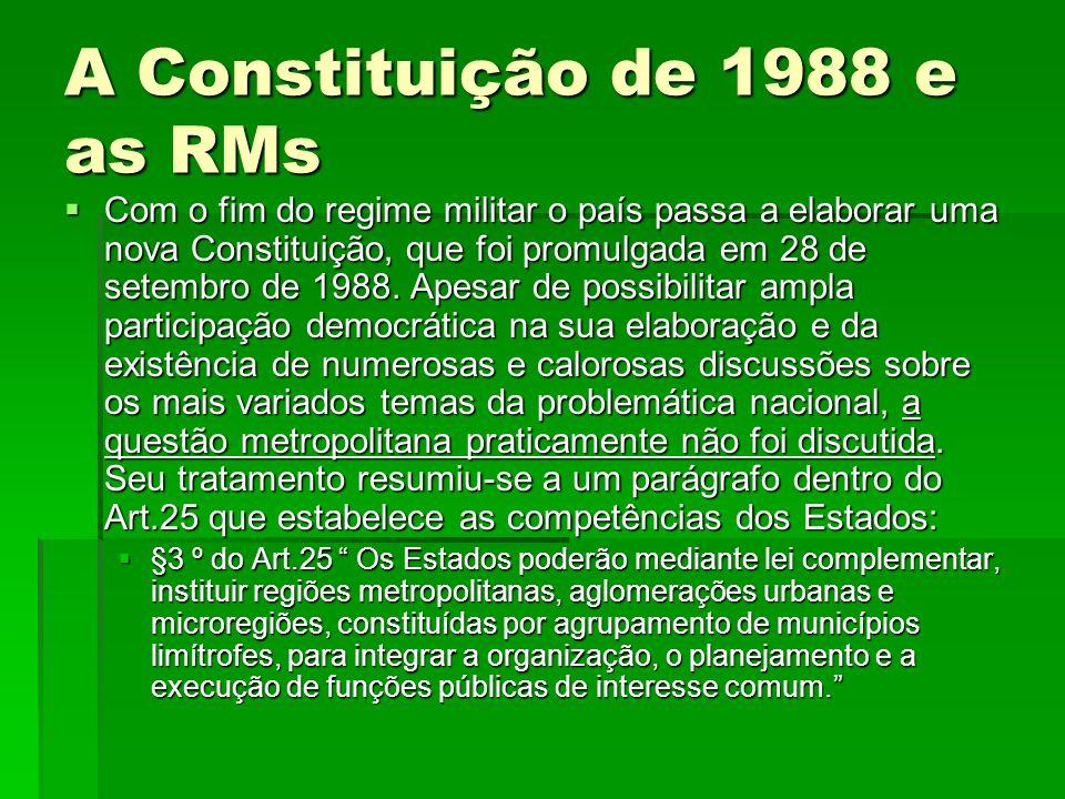 A Constituição de 1988 e as RMs  Com o fim do regime militar o país passa a elaborar uma nova Constituição, que foi promulgada em 28 de setembro de 1