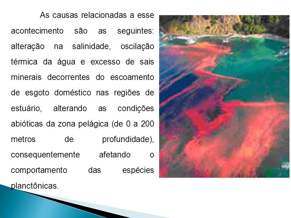 As causas relacionadas a esse acontecimento são as seguintes: alteração na salinidade, oscilação térmica da água e excesso de sais minerais decorrente