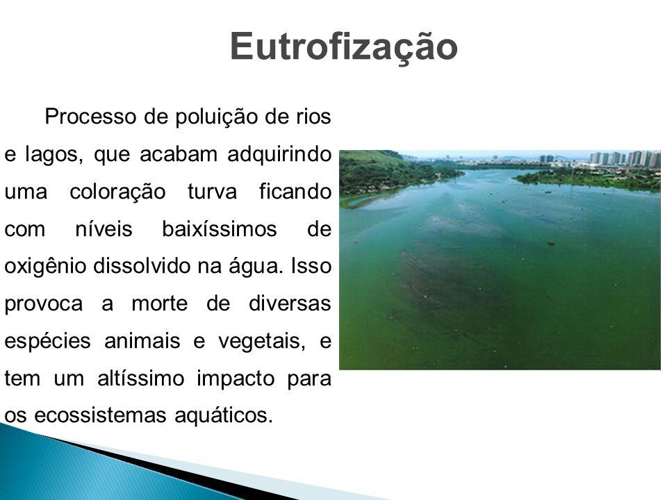 Processo de poluição de rios e lagos, que acabam adquirindo uma coloração turva ficando com níveis baixíssimos de oxigênio dissolvido na água. Isso pr